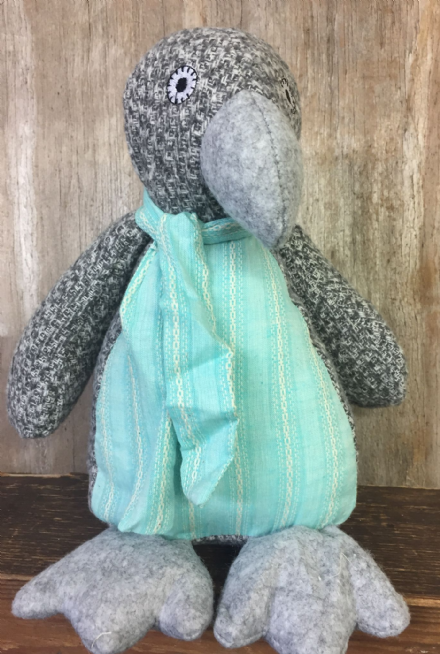 Light Grey Knitted Winter Penguin with Scarf Doorstop
